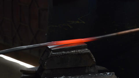 Metal processing in the forge. Work on forging hammer Footage