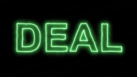 Neon flickering green text DEAL in the haze. Alpha channel Premultiplied - Animation