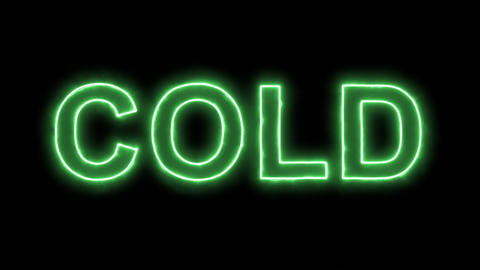 Neon flickering green text COLD in the haze. Alpha channel Premultiplied - Animation