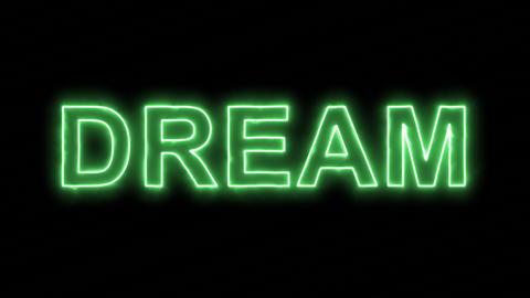 Neon flickering green text DREAM in the haze. Alpha channel Premultiplied - Animation