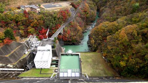 Water power plant at Ogochi Dam or Lake Okutama Footage