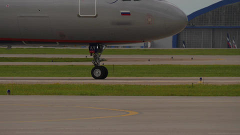 Airbus A321 landing gear while taxiing to the runway at Airport. Airbus A321 is Footage