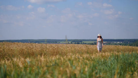 Woman in tight dress and cowboy hat walks along wheatfield looking at blue sky Footage