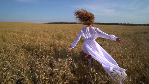 Young woman runs on field of ripe wheat with open arms. Camera follows the woman Footage
