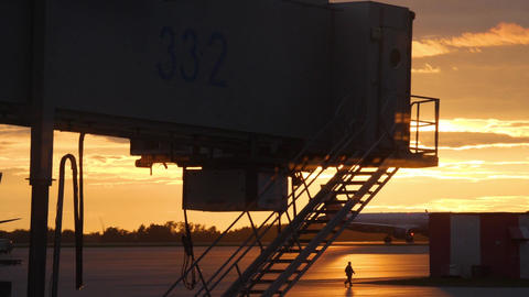 Airbridge, airport constructions and ground support equipment at airport Live Action