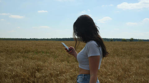 Woman with cell phone types a message while walking on summer wheatfield Footage