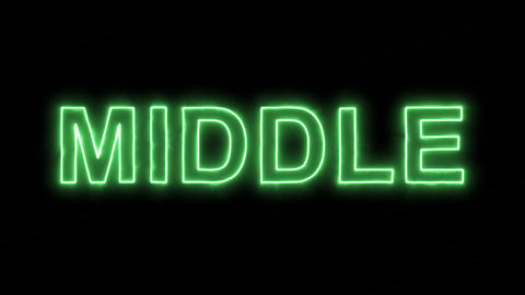 Neon flickering green text MIDDLE in the haze. Alpha channel Premultiplied - Animation
