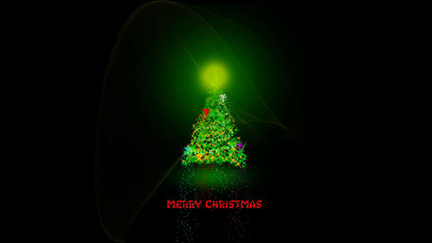 Sparkling lights xmas tree Merry Christmas and greeting message in english on Animation