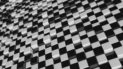 Movement of cubes. Futuristic background with black and white cubes. Cubes with Live Action