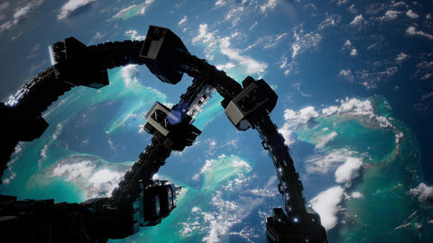 4k Flight Of The International Space Station Above the Earth ビデオ