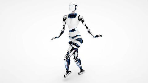 Sexy robot android woman walking. Sci-fi stylish robotic gir. Cute robot woman Footage