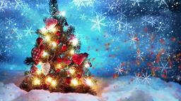 Christmas tree - falling snow CG動画素材