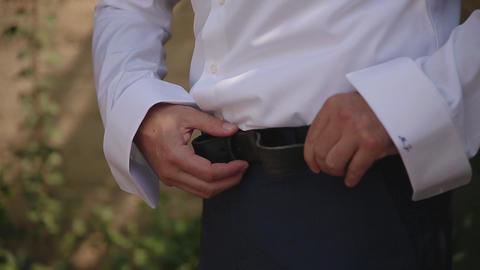 Hands groom of wedding gettin, Dress up Footage