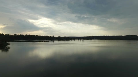 A beautiful lake with smooth surface in Ukraine in the evening Footage