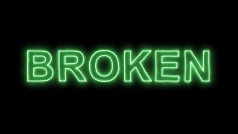 Neon flickering green text BROKEN in the haze. Alpha channel Premultiplied - Animation