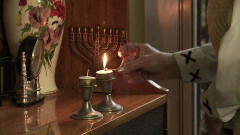 Lighting Jewish Candlestick Footage
