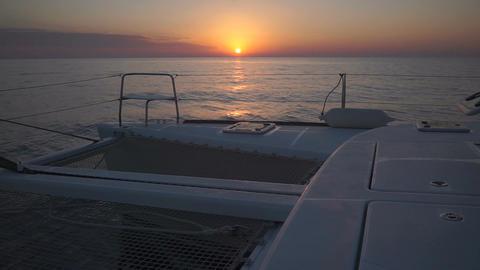 Luxury catamaran sailing during sunset Footage
