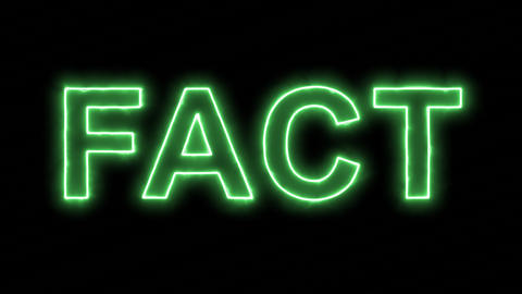 Neon flickering green text FACT in the haze. Alpha channel Premultiplied - Animation