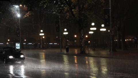 Avenue in Montevideo at Rainy Night Footage