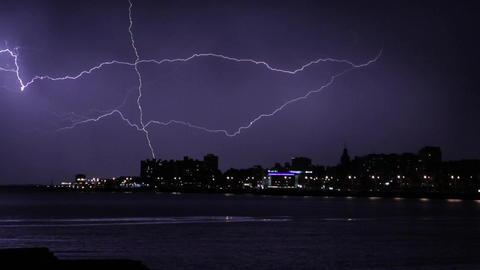 Gigantic Lightning in the Stormy Night of Montevideo Filmmaterial