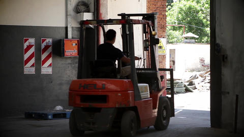 Forklift Truck in Warehouse Live Action
