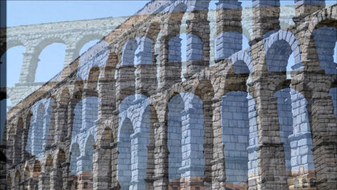Roman Aqueduct, Segovia, Spain Footage