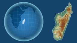 Madagascar and Globe. Relief Animation