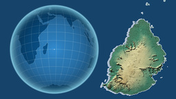 Mauritius and Globe. Relief Animation
