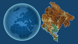 Montenegro and Globe. Relief Animation