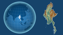 Myanmar and Globe. Relief Animation