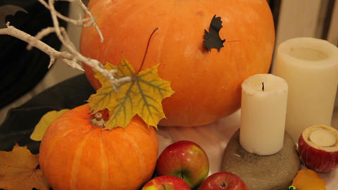Candles and pumpkin on Halloween table Footage