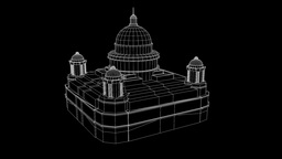 Temple Nice Wireframe Animation 30FPS Animation