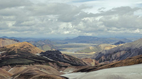 Mountains and valley in the national park Landmannalaugar. Iceland Footage