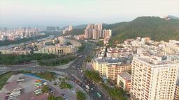 Sanya City Sunset Panorama View, China. Aerial 4K ビデオ