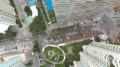Aerial View Looking Down from Above Skyscrapers and City Buildings of Sanya Footage