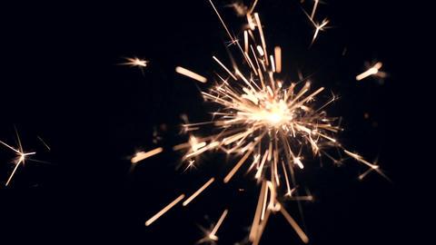 Sparkler Firework Fades on Black Background. HD, 180fps Slow Motion Footage