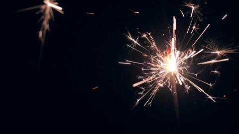 Burning Sparkler on Black Background. HD, 180fps Slow Motion Footage