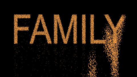 text FAMILY appears from the sand, then crumbles. Alpha channel Premultiplied - Animation