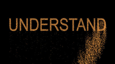 text UNDERSTAND appears from the sand, then crumbles. Alpha channel Animation