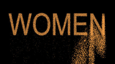 text WOMEN appears from the sand, then crumbles. Alpha channel Premultiplied - Animation