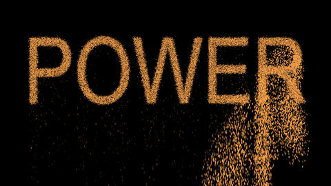 text POWER appears from the sand, then crumbles. Alpha channel Premultiplied - Animation