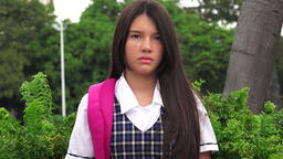Unemotional Latina Girl Student Live Action