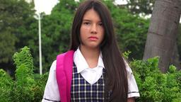 Unemotional Latina Girl Student Footage