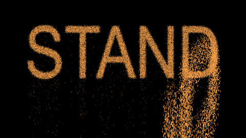 text STAND appears from the sand, then crumbles. Alpha channel Premultiplied - Animation
