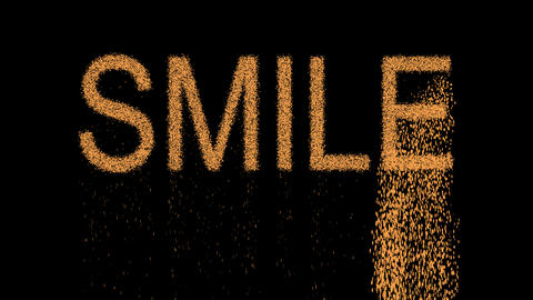 text SMILE appears from the sand, then crumbles. Alpha channel Premultiplied - Animation