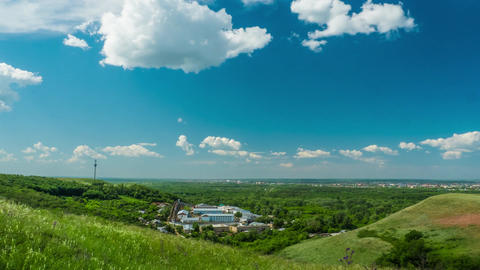clouds sky city beautiful sunny day nature hills mountains travel the country Footage