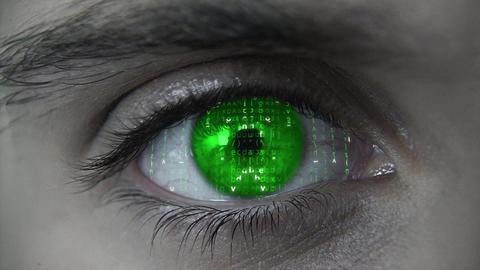 Macro falling matrix green eye plan Animation