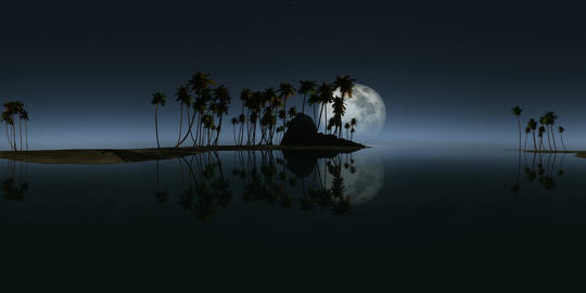 360 rocky island palms beach moon 264 4 VR 360° 動画