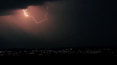 Evening storm - a fantastic landscape video background. Impressive lightning ビデオ