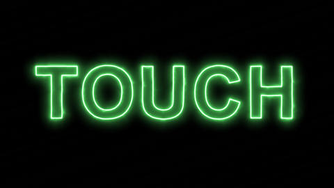 Neon flickering green text TOUCH in the haze. Alpha channel Premultiplied - Animation